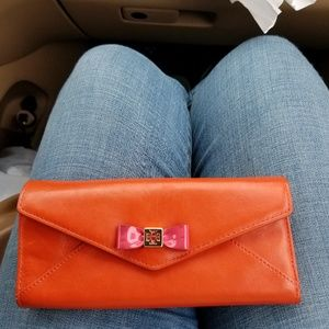 Tory Burch Flamingo Pink Bow envelope Wallet used